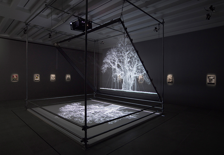 Albion  (Image Courtesy Gary Tatintsian Gallery and Blain|Southern London)  2017 Aluminium, media player, Mirror, Paint, Scaffolding rig, Scretching accessories, Transparent mirror film, Video Projector, Wood  460 x 430 x 540  cm