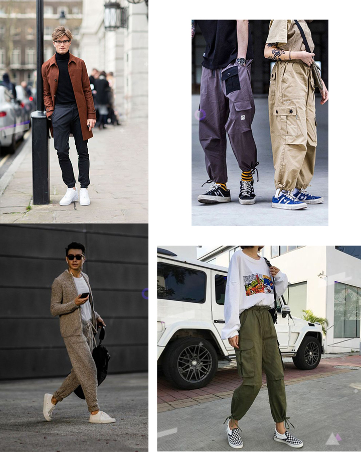 Как носить джоггеры с кедами и слипонами. Женские и мужские образы streetstyle