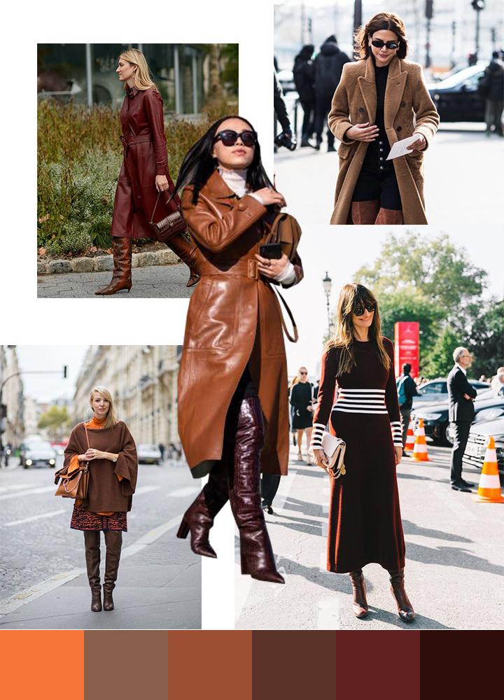 С чем носить коричневые и рыжие сапоги: с одеждой в тон