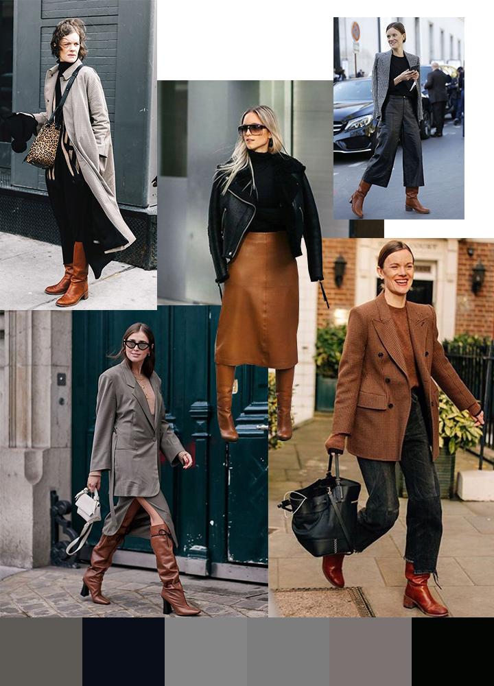 С чем носить коричневые и рыжие сапоги: с черным и серым
